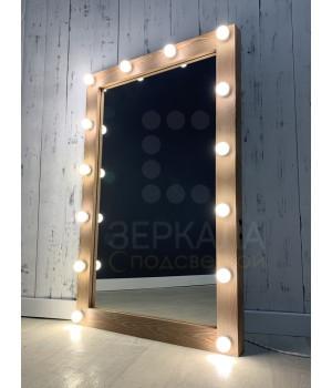 Гримерное зеркало с подсветкой 120х80 коричневая патина
